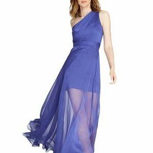 Halston blue one shoulder chiffon dress 10